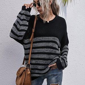 black charcoal oversized stripes knit sweater